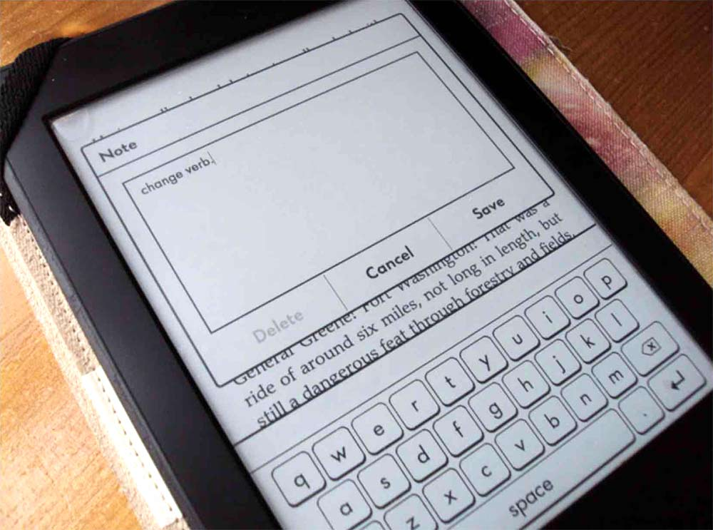 Kindle on-screen keyboard
